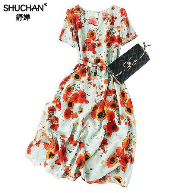 Shuchan Prairie Chic Print Vestidos Casuales Moda 2019 Dress To Knee-length V-neck Elegant Dresses For Women High Quality A0677