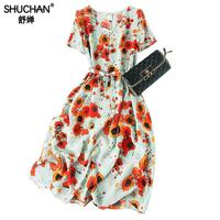 Shuchan Prairie Chic Print Vestidos Casuales Moda 2019 Dress To Knee length V neck Elegant Dresses For Women High Quality A0677