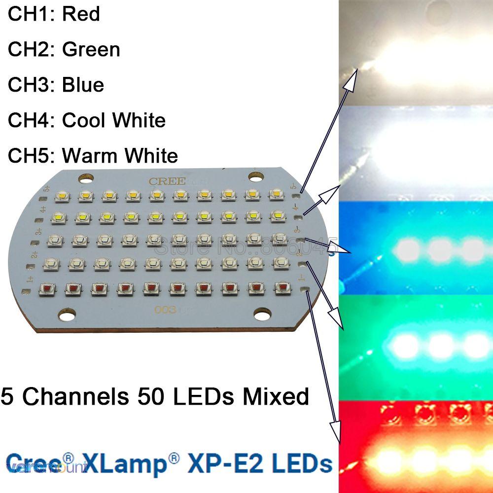Cree XPE2 XP-E2 50 LED s 5 canaux haute puissance RGBWW LED émetteur lumière rouge vert bleu blanc mixte couleur bricolage lumière LED PCB en cuivre