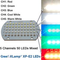 Cree XPE2 XP E2 50LEDs 5 Channel High Power RGBWW LED Emitter Light Red Green Blue White Mixed Color DIY LED Light Copper PCB