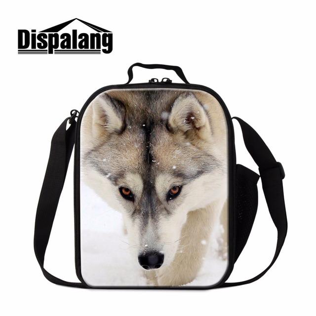 Lobo lindo Almuerzo Bolsos Más Frescos para Niños Animal Perro Tigre Impreso Comida de Picnic Bolsas de Almuerzo Aislada Contenedor para Adultos Hombres Trabajan Bolsa
