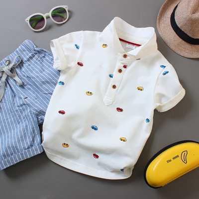 Для мальчиков и девочек с короткими рукавами рубашка-поло с короткими рукавами футболка хлопок классический Детская западный стиль красивые детские футболки рубашка для досуга