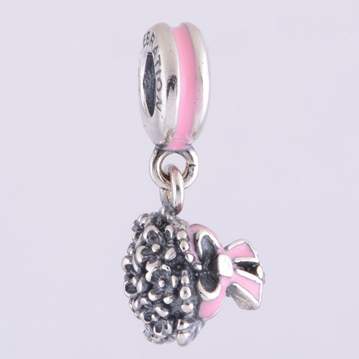 81bfca849 Fits Pandora Charms Bracelet 925 Sterling Silver Dangle Charm Enamel Pink  Bouquet Flower Pendant DIY Bracelets for Women Jewelry-in Charms from  Jewelry ...