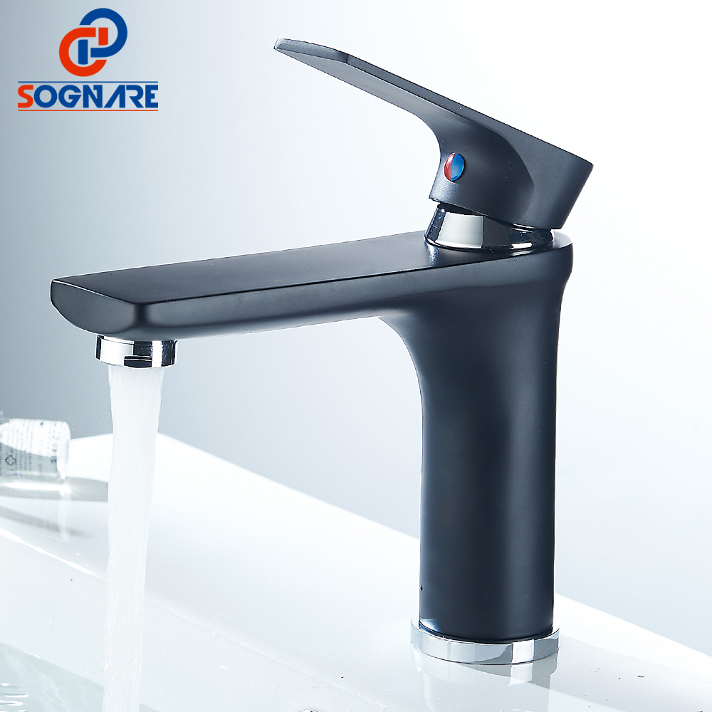 SOGNARE Black Matte Bathroom Faucet Waterfall Water Tap Deck Mounted Cold Hot Single Handle Water Mixer Sink Faucet Basin Faucet sognare 1set brass body bathroom basin faucet single handle bath sink tap deck mounted cold and hot water mixer sink faucet tap