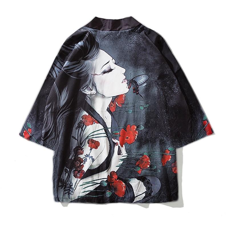 2019 Japanese Kimono Cardigan Men Long Carp Print Floral Kimono Cardigan Men White Japan Kimono Men