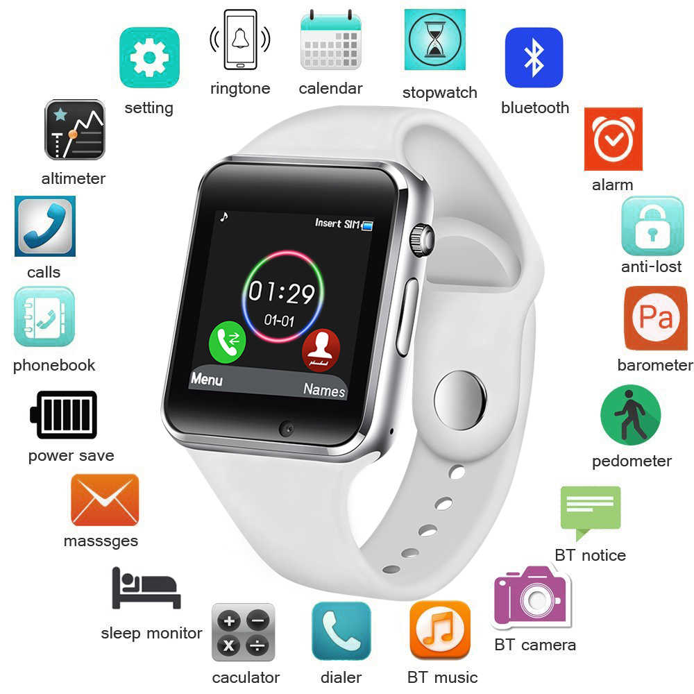 LIGE Smart Watch Women SIM TF Push Message Camera Bluetooth Connectivity Android Phone Sports pedometer Digital Smart Watch Men