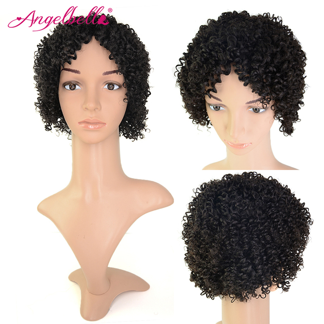 Angelbella Short Afro Curly Hair Wigs Natural Black Human Hair Kinky Curly Cheap Bob Wigs Short Hair Wigs for Black Women