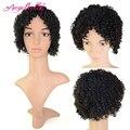Angelbella corto afro rizado pelucas de pelo negro natural del pelo humano Barato Rizado rizado Pelucas Bob Corto Pelucas de Pelo Negro para mujeres