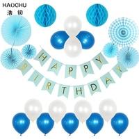 HAOCHU 22pcs (20cm 30cm 40cm) Blue Paper Fan Backdrop Paper Pinwheel Pearl Latex Balloon Church Christening Baby Shower Decor