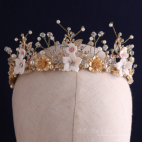 2016 new fashion handmade clay flower bead golden crown bride hair