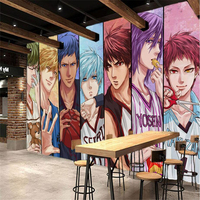 Beibehang Large Custom 3D Wallpaper HD Hand Painted Basketball Anime Theme Tool Wallpaper Wall Decorative