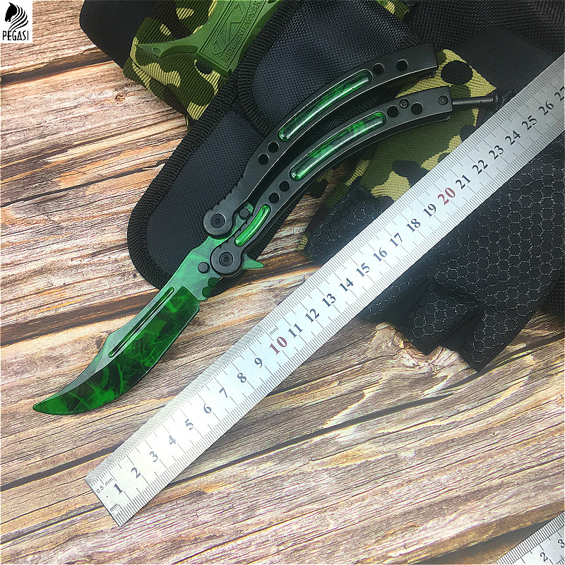 Image 2 - CS GO Emerald green design chic claw knife 9.8 inch butterfly training knife with scabbard and neck rope tactics claw knife-in Knives from Tools