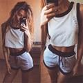 Casual Sportwear Suit 2017 Summer Letter Print Tracksuit Women Sleeveless Short Tops +Short Pant Women's Clothes Sportswear Set