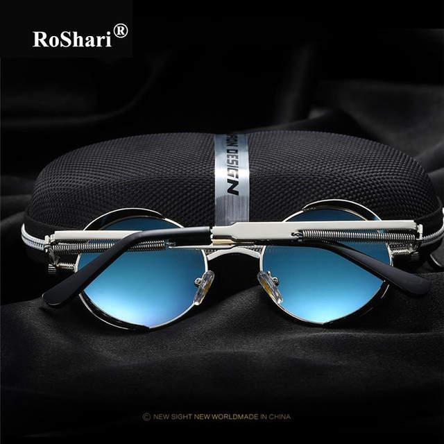 dd7c8ef439 RoShari Round Metal polarized sunglasses women men brand designer Silver frame  sunglass Vintage Steampunk Sun Glasses