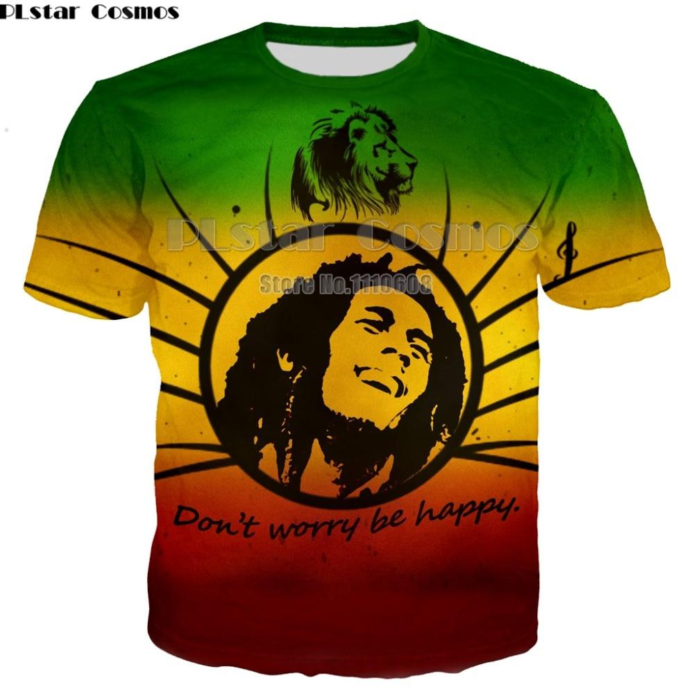 Famous Singer Rap Hip hop T-shirts Reggae Tee Bob Marley 3d print Men Women casual O-Neck t shirt