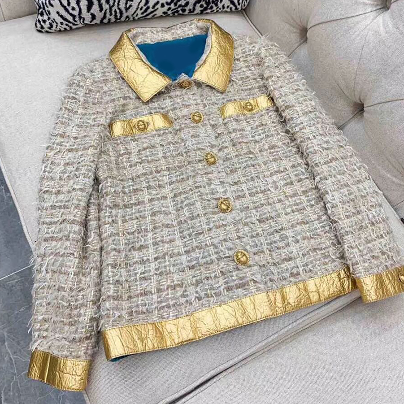 2019 autumn and winter new women s jacket high quality Retro tweed long sleeve lapel gold