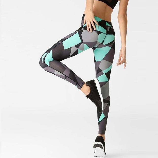 New Mint Green Geometric  Sports Leggings for Ladies