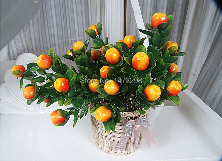 Hot Artificial Apple / Peach / Orange Tree Bonsai House Decoration Sketching Tool Artificial Flower Ornament 11 Fruits