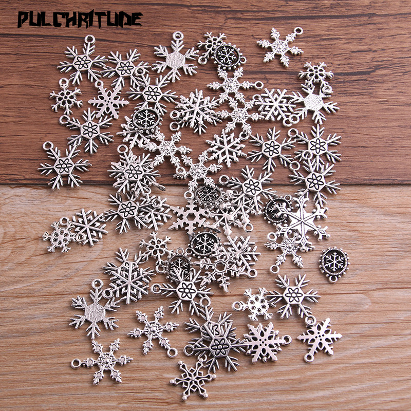 PULCHRITUDE Snowflake Charms Pendants Jewelry Mixed Handmade Antique Silver for Diy P6665