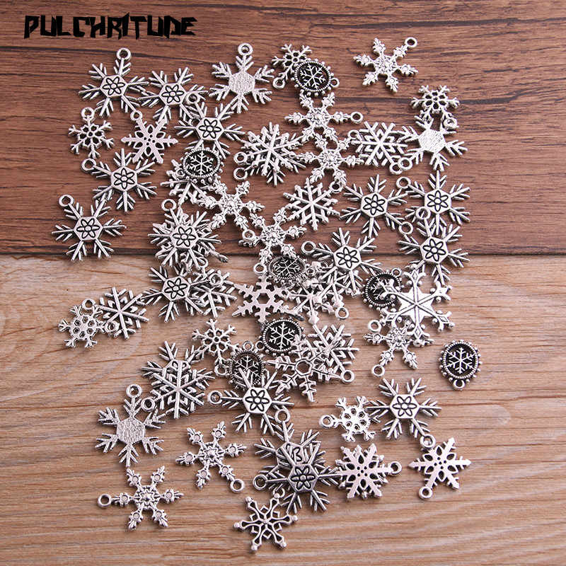 PULCHRITUDE 20pcs Mixed Antique Silver Christmas Snowflake Charms Pendants For Jewelry Making Diy Handmade Jewelry P6665