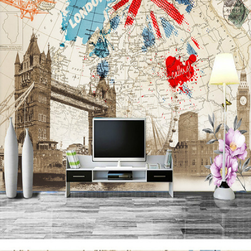 England style nostalgic retro map of London building large mural wallpaper  living backdrop painting three-dimensional wallpaper map of fates