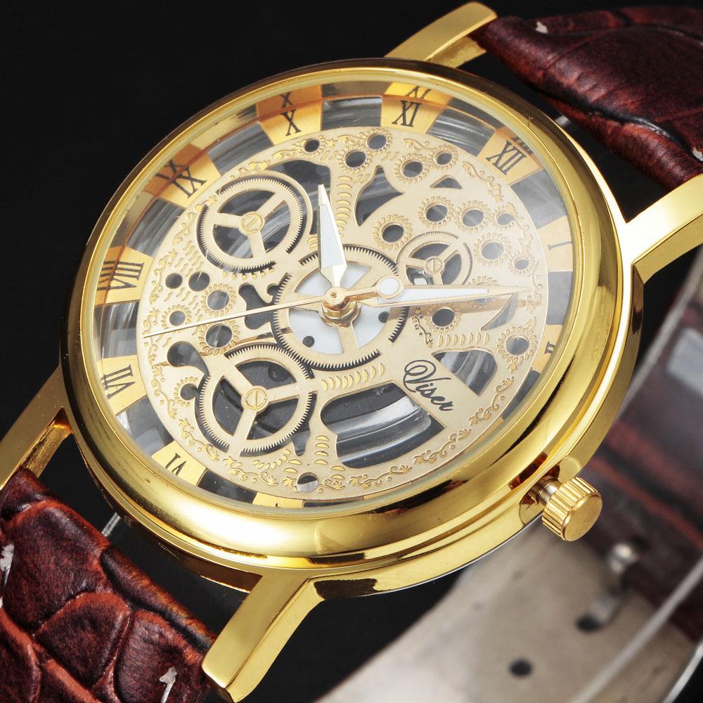 Splendid Design Hollow Big Dial Watches Men Fashion Casual Business Quartz Watches Clock Sport Watches Leather Wrist Watch