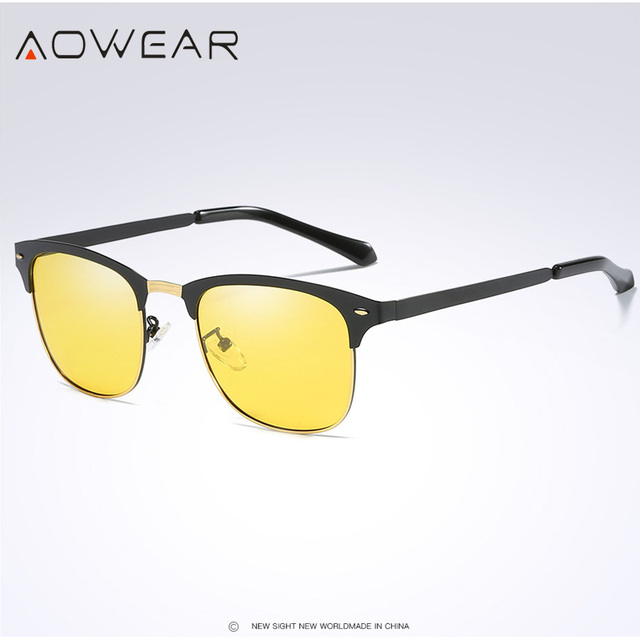 7bf48e040b3 AOWEAR Retro Rivet Yellow Sunglasses Men Polarized Night Vision Glasses  Unisex Round Sun Glasses Half Frame