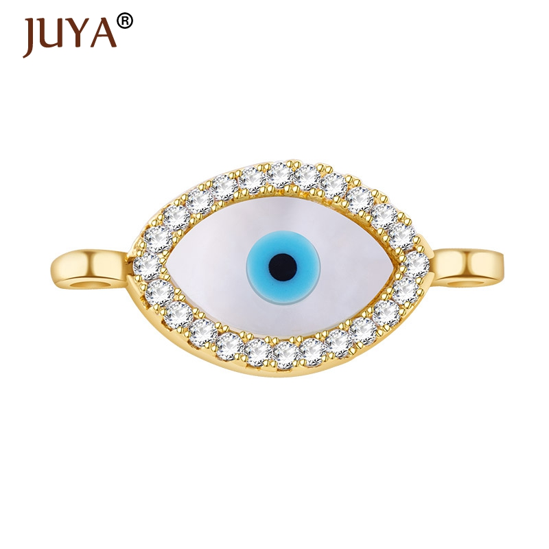 Fashion Luxury Micro Pave CZ Rhinestone Shell Evil Eyes Connector Beads  Double Loop Charms Pendant For 85ae90b9cae4