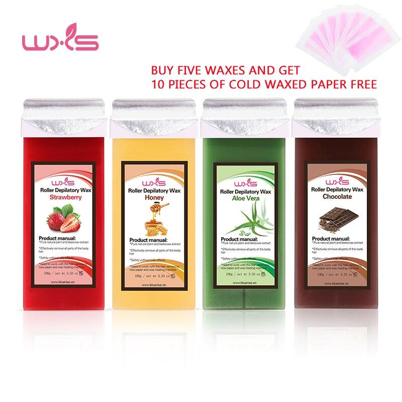 100g cartucho de cera depilatoria Crema para depilación cera de abejas 5 sabores fresa Rosa Chocolate miel rollo de cera caliente todos los tipos de piel