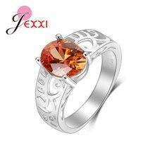 Vintage naranja cristal boda Anillos De Compromiso moda boda bandas joyería ahuecado partido dedo anillo Accesorios