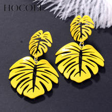 Statement Big Leaf Earrings Temperament All Match Women Drop Earrings 2018 Fashion Jewelry Party Holiday Beach Style Yellow Gift(China)