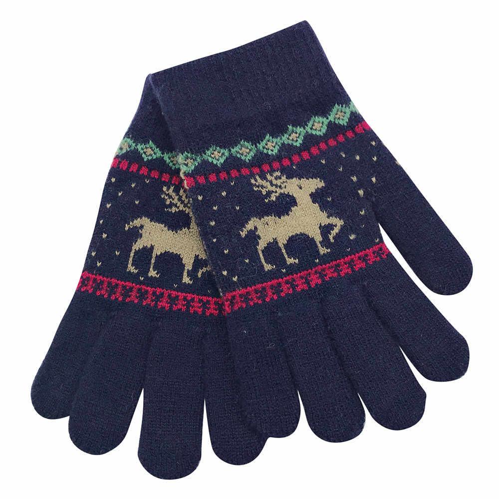 MUQGEW ילדים חורף כפפות כותנה Cartoon ילדים כפפות חג המולד ילדי חורף חם קריקטורה צבי אצבע כפפות כפפות סרוג