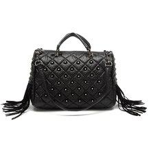 Роскошные сумки, женские сумки, дизайнерская Повседневная сумка с заклепками, сумка через плечо, женская сумка-мессенджер с кисточками, модная вместительная сумка