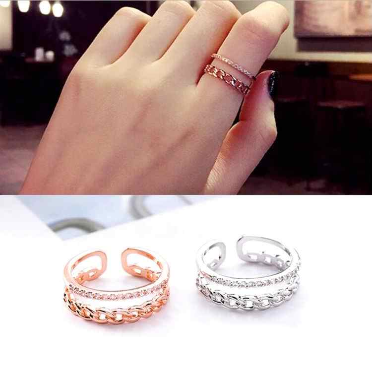MENGJIQIAO 2018 New Arrival Micro Pave Zircon Double Layer Rings For Women Elegant Adjustable Finger Ring Anniversary Gift