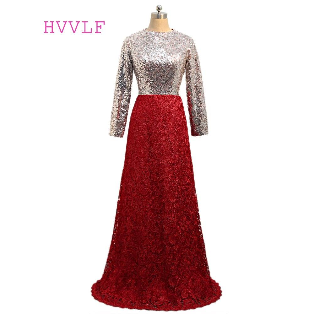 Burgundy Muslim   Evening     Dresses   2019 A-line Long Sleeves Sequins Lace Islamic Dubai Kaftan Saudi Arabic Scarf Long   Evening   Gown