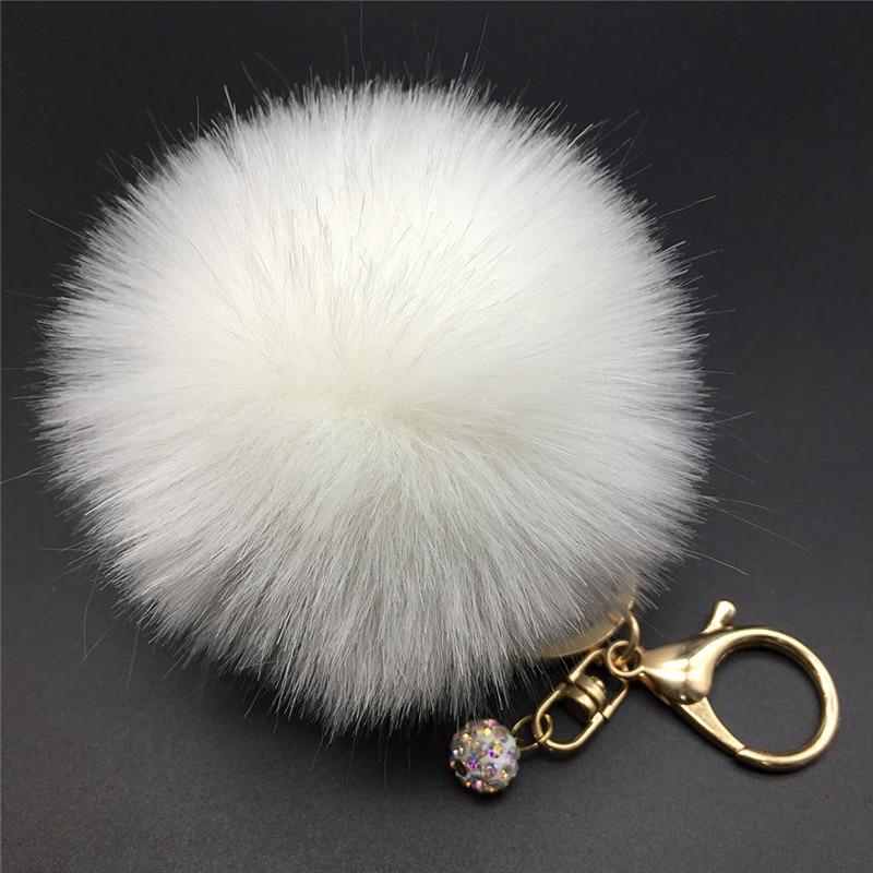 12 Colors 8cm Handbag Bunny Cute Bag Rhinestone Blank Fluffy Rabbit Fur Pom Pom Ball Keychain To Locate Keys Stylish Fashion