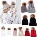 2 pçs/set mãe e bebê de tricô de lã inverno keep warm fur skullies chapéu do sexo feminino casual cap frete grátis & distribuição