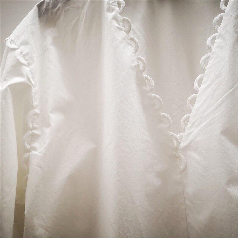 Blanco Manga Primavera Largo Las Camisas Mujeres Onda Hueco En 2019 Hombro Nueva De Cuello Fuera Blusa Encaje V El Algodón TFHdq8x0w