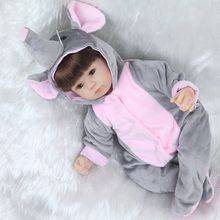 Bebe Reborn dolls silicone girl body 43cm elephant loves doll toys for girls boneca Bebe baby doll best Gifts Toys