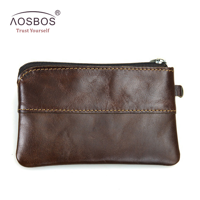 Aosbos Men Genuine Leather Coin Purse Mens Small Zipper Wallets Coin Bag Women Girls Vintage Solid Mini Money Pouch Holders aosbos fashion portable insulated canvas lunch bag thermal food picnic lunch bags for women kids men cooler lunch box bag tote