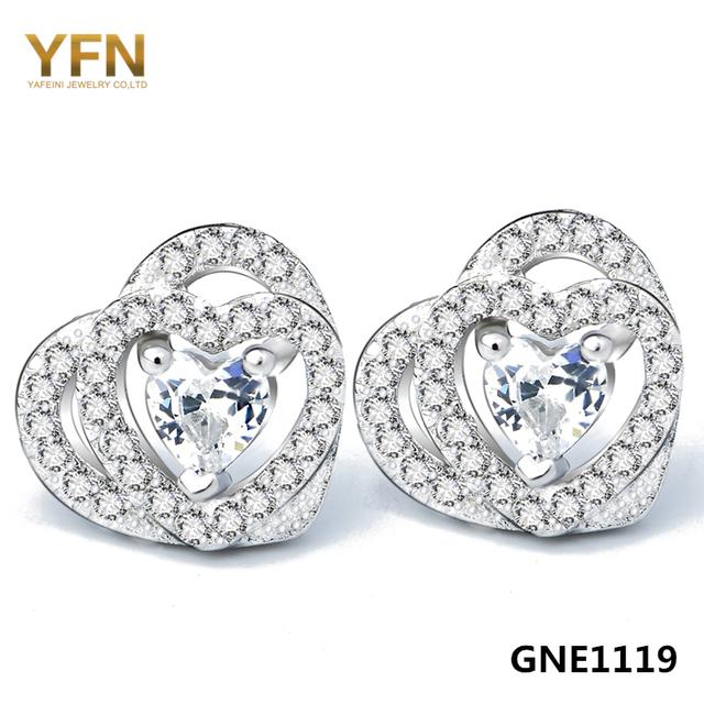Gne1119 caliente brincos yfn joyería de plata de ley 925 micro pave configuración cubic zirconia del corazón del perno prisionero para las mujeres