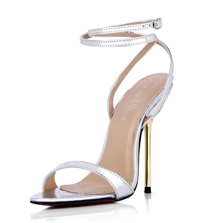 ФОТО Cheap Silver/Gold Women Sandal For Women US5-US12 Slingbacks Wedding Sandal sandalias Zapatos Mujer 2015 Real Image