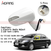 Outer Rearview Mirror Side Mirror For HONDA FIT JAZZ 2005 2008 City 2007 2008 5PINS Electric Angle Adjust + LED Lamp
