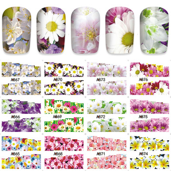 Charming Fantastic Flower Decals Nail Art Water Transfer Stickers 12pcs/Lot A865-876