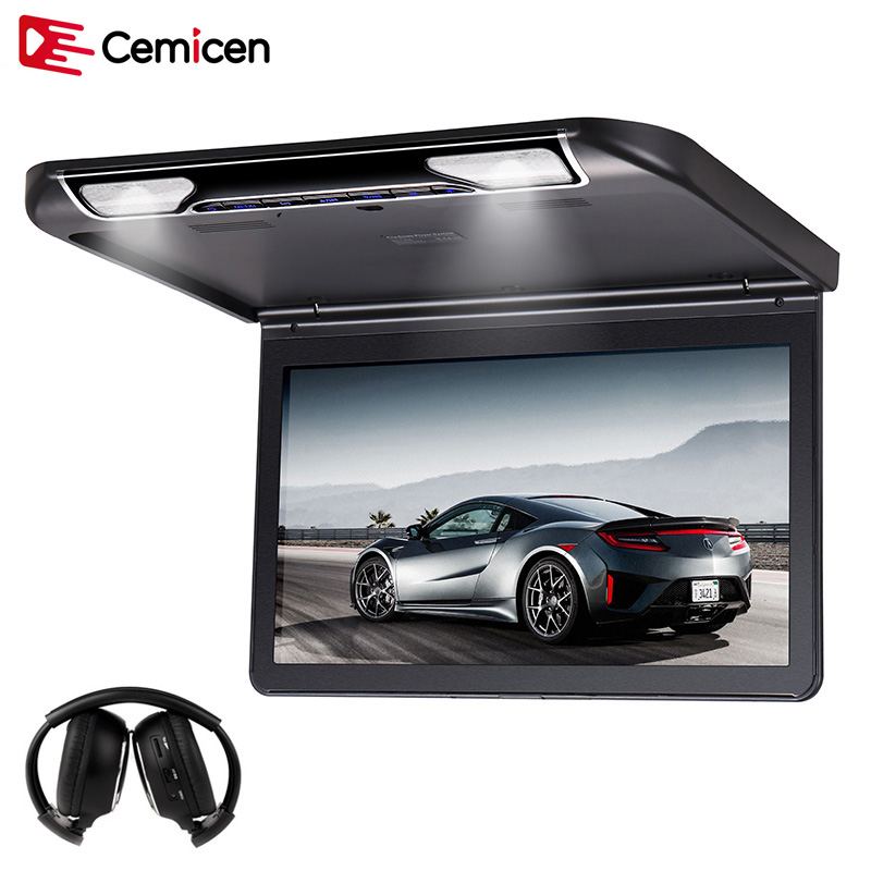 Cemicen 13 3 Inch Car Ceiling Flip Down Roof Mount Monitor with Full 1920 1080 Screen