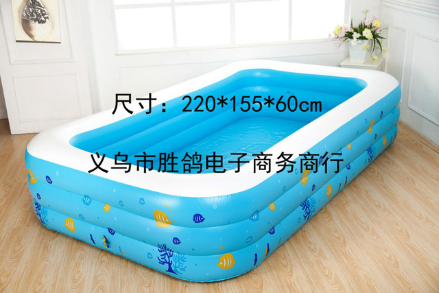 Large Children Family Outdoor Portable Inflatable Swimming Pool Colorful Flat Bottom Splashing Adult Bathtub 220x155x60cm