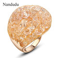 Nandudu Sale Fashion Cocktail Ring Wire Mesh Austrian Crystal Rings Gold Plated Women Girl Jewelry Gift R575