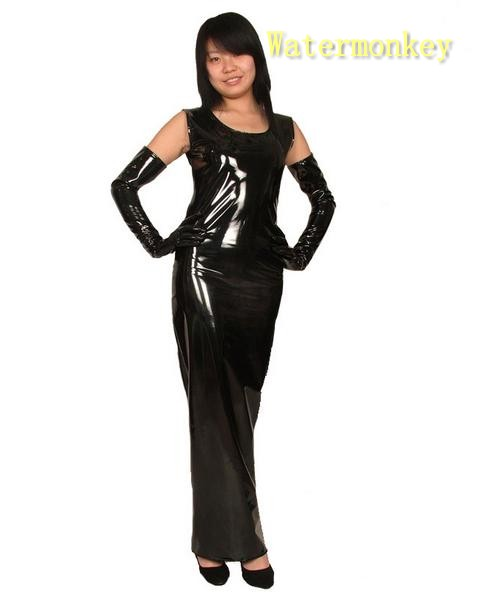 Watermonkey brand Cosplay Halloween Costumes women Black leather PVC round neck sexy skirt