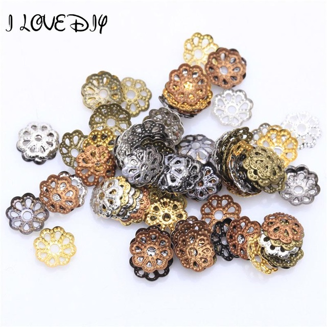 6 colors Antique Silver Gold Filigree Metal Flower Bead Caps Jewelry