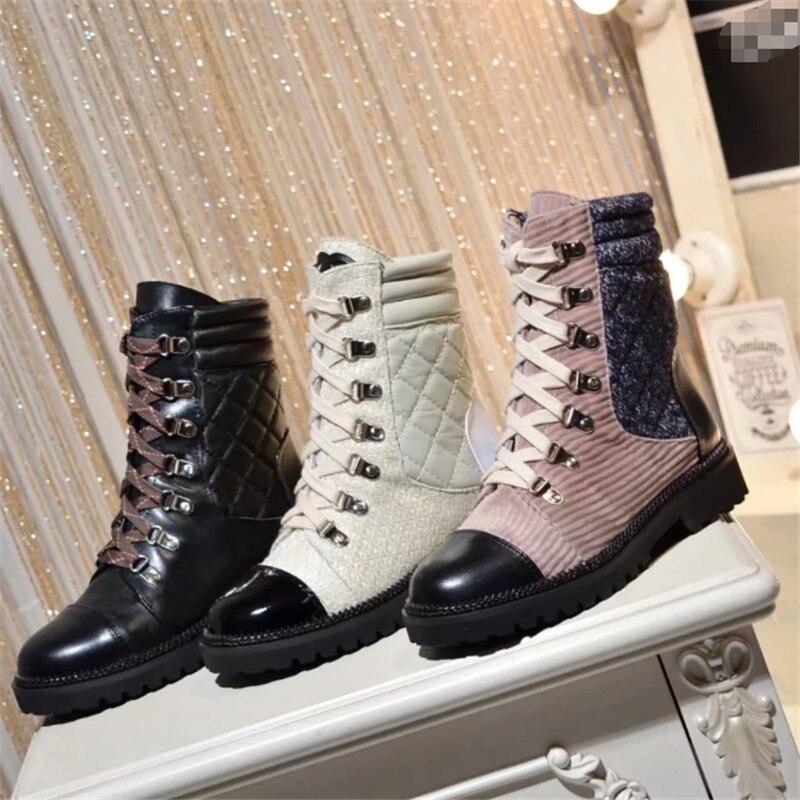 Liée Femmes Talon Véritable Designer Beige Croix forme Chaussures Bottes Western Pour Patchwork Martin black Plate pink Cuir Luchfive Cheville En Plat x48qT7TY